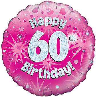 Oaktree 18 Inch Happy 60th Birthday Pink Holographic Balloon