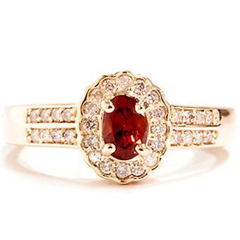 1 1 / 10ct diamant & Tourmalines rouges Halo Pave or bague en or 14K