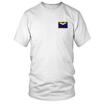 USAF Airforce - Pilot Wings Air Force Name Embroidered Patch - Blue And Gold Kids T Shirt