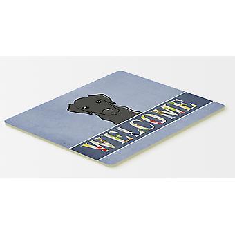 キャロラインズ宝物 BB1421CMT 黒ラブラドールようこそキッチンやお風呂マット 20 x 30