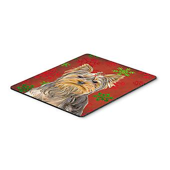 Red Snowflakes Holiday Christmas  Yorkie / Yorkshire Terrier Mouse Pad, Hot Pad