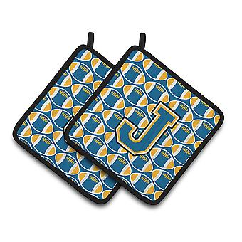 Letter J Football Blue and Gold Pair of Pot Holders