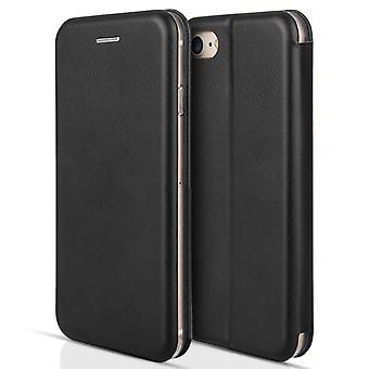 Apple Iphone 7 PU Leather Stand Wallet Felt Lining ID Slots - Black