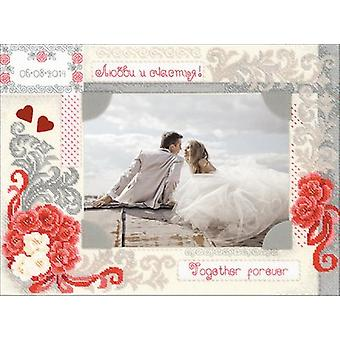 Photo Frame Love And Happiness Counted Cross Stitch Kit-15.75