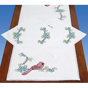 Stamped Dresser Scarf & Doilies Lace Edge-Cardinals 449 712