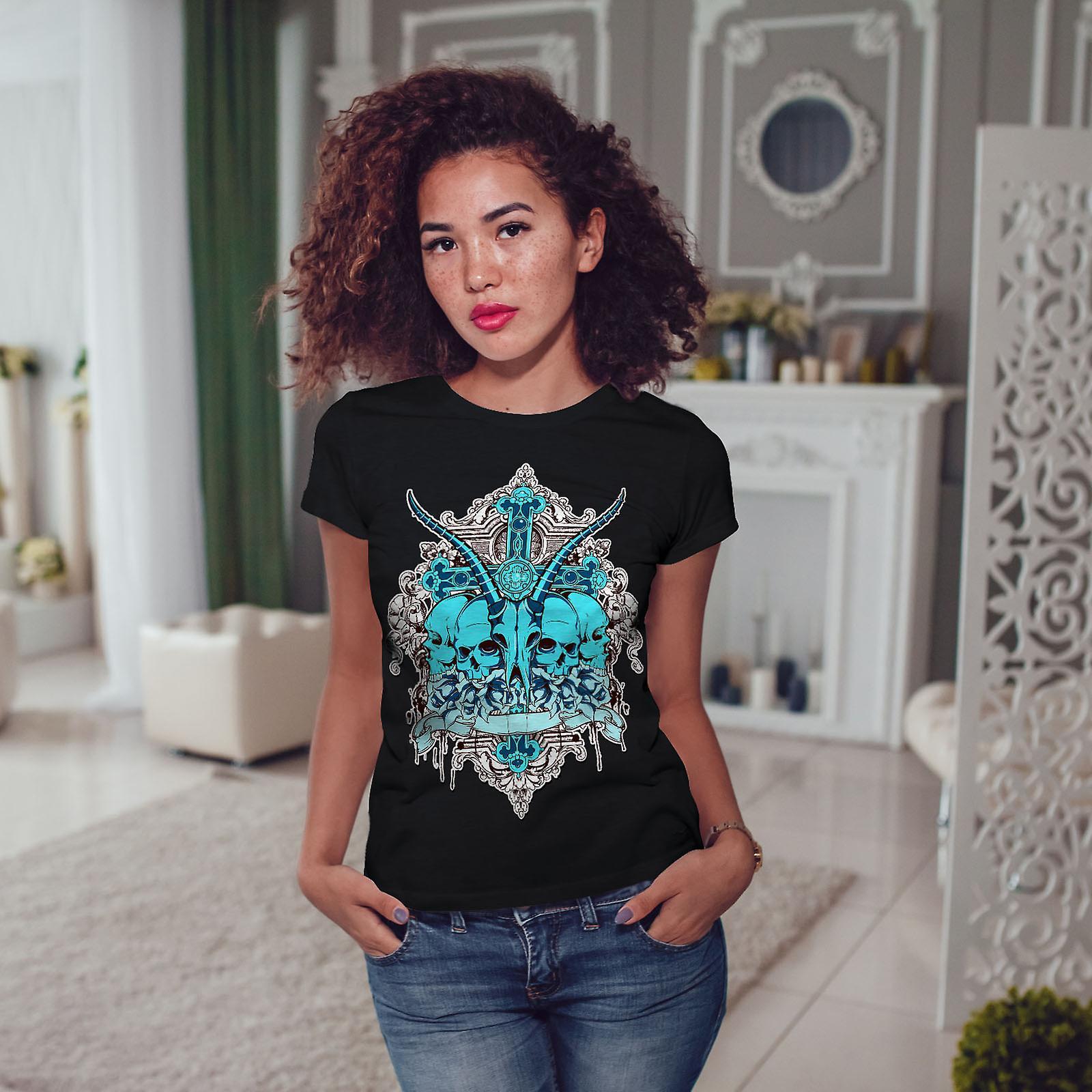 Dead Animal Cross Skull Women Black T-shirt | Wellcoda