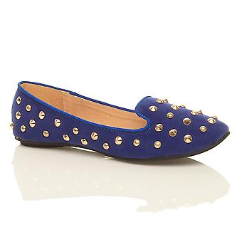 Ajvani womens flat studded slippers loafers slip on dolly pumps shoes