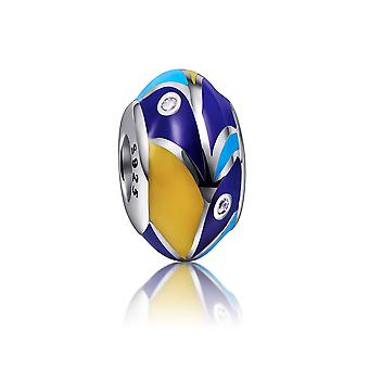 Charms Bead in Silver 925 and enamel blue and yellow