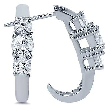 1ct Three Stone Diamond White Gold Earrings 14K