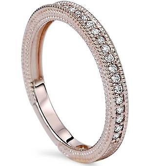 VS 1/5ct Vintage Diamond Wedding Milgrain Ring 14K Rose Gold