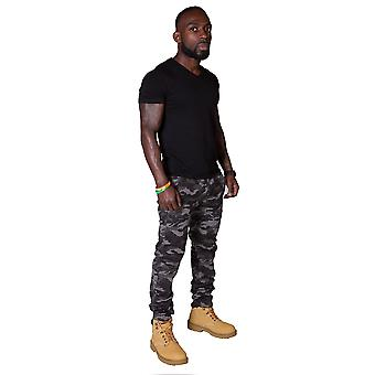 Slim Fit Men's Cargo Trousers - Urban Camouflage Mens Combat Pants Army Trousers