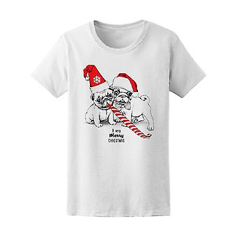 Lovely Merry Xmas Puppy Pugs Tee Women's -Image by Shutterstock