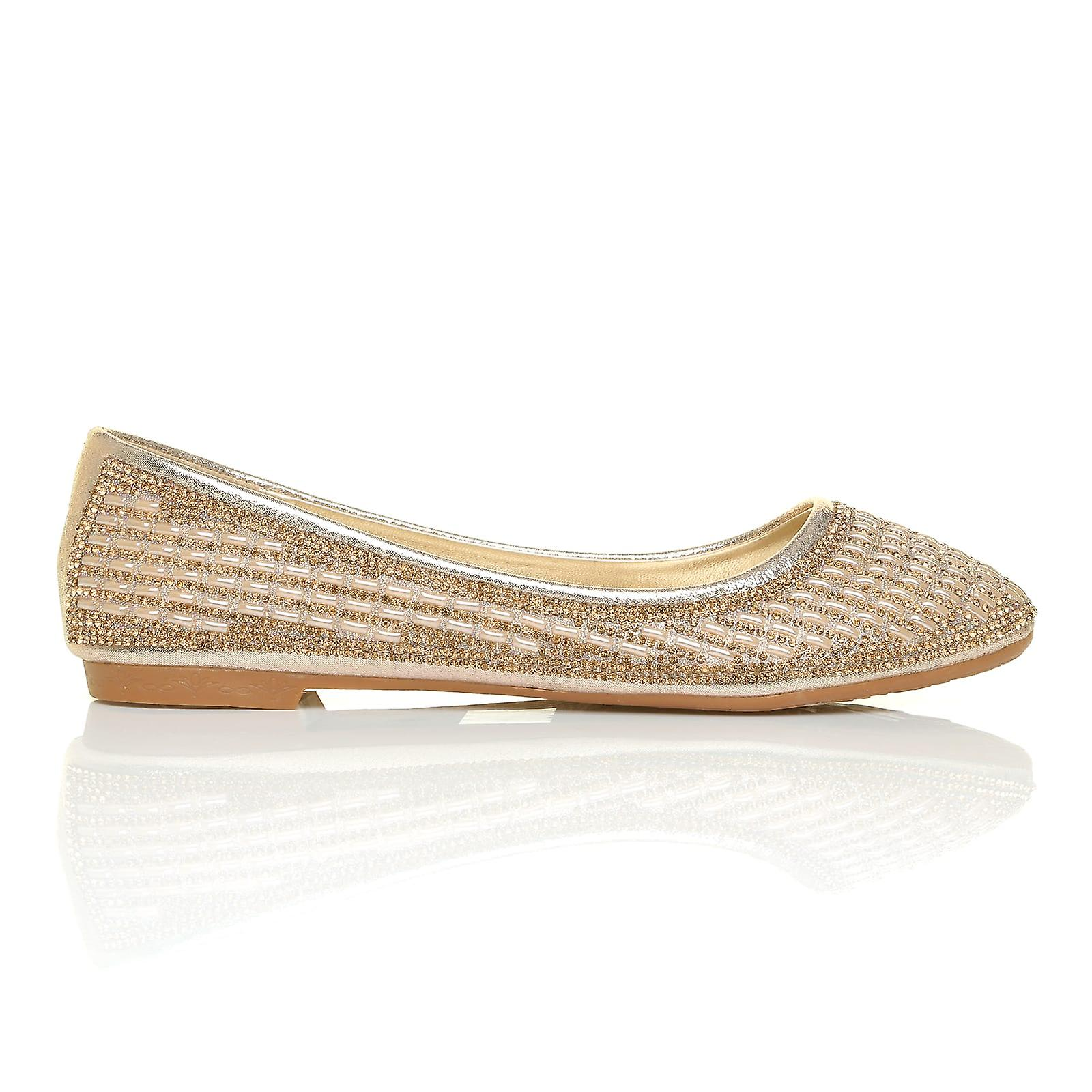 GILL Flat Gold Shimmer Diamante Encrusted Flat GILL Softie Ballerina Slip On Shoes 44fc9d