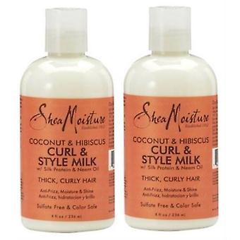 Shea Moisture Curl And Style Milk 8oz Coconut & Hibiscus (2 Pack)
