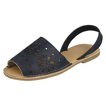 Ladies Leather Collection Flower Design Mules F00144 - Navy Leather - UK Size 3 - EU Size 36 - US Size 5