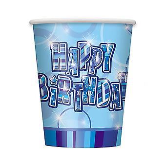 Geburtstag Glanz blau - Happy Birthday blau Prisma Tassen