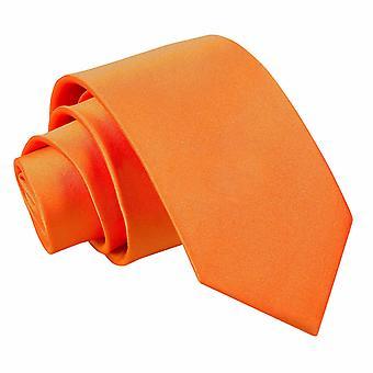 Burnt Orange Plain Satin Slim Krawatte