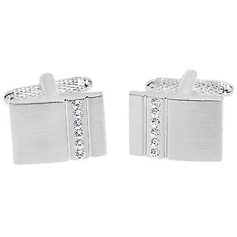 David Van Hagen Brushed Rectangle Crystal Stripe Cufflinks - Silver/Clear