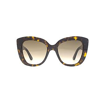 Gucci GG Logo Oversize Cateye Sunglasses In Havana