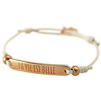 Gemshine - Damen - Armband - Gravur - LA VIE EST BELLE - Rose Vergoldet - Nude
