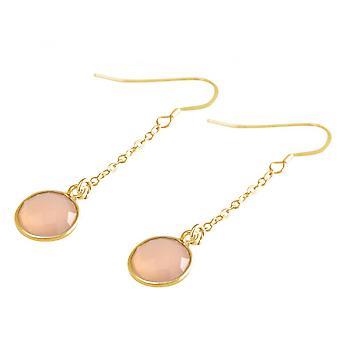 Pink - 3.5 cm - Rose Quartz - gold-plated ladies - earrings - earrings - 925 Silver-