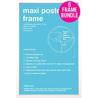 GB Posters 6 branco Maxi Poster Frames 61x91.5cm Bundle