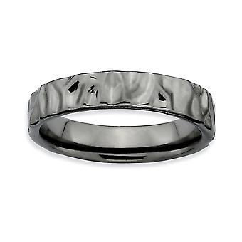 Sterlingsilber nicht glatt poliert gemustert Ruthenium Plattieren stapelbar Ausdrücke schwarz verchromten Ring - Ring-Größe: 5 bis