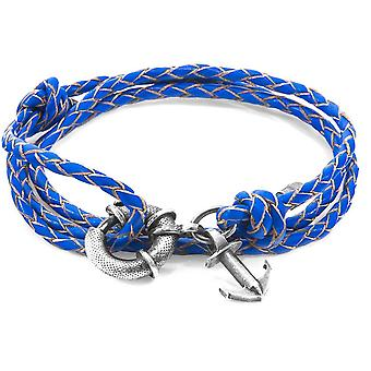 Anchor and Crew Clyde Silver and Braided Leather Bracelet - Royal Blue