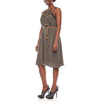 b.young loose crepe dress olive green