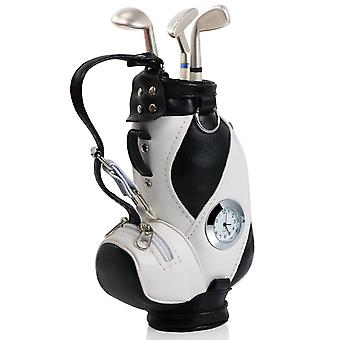 TRIXES Golf Bag Novelty Pen Holder with Golf Club Pens and Clock