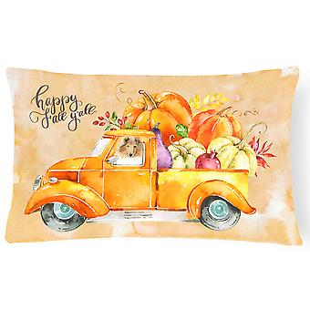 Fall Harvest Collie Canvas Fabric Decorative Pillow