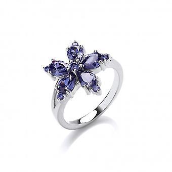Plata francesa Cavendish y flor CZ anillo de tanzanita