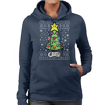 Retro Games Console Christmas Tree Women's Hooded Sweatshirt