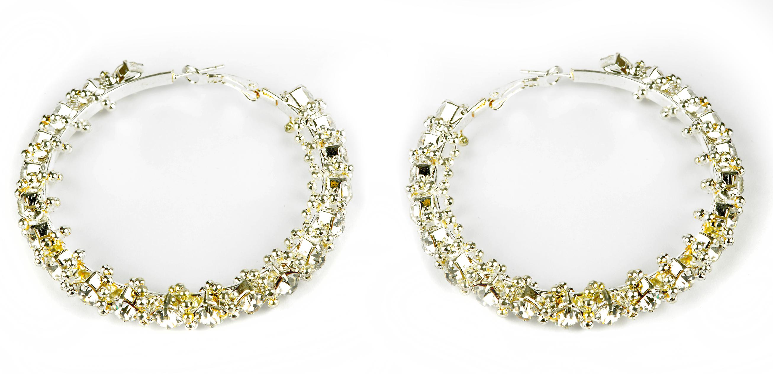 Waooh - Fashion Jewellery - WJ0723 - D'Oreille earrings with Swarovski Rhinestones Style Diamond - Frame Colour Silver