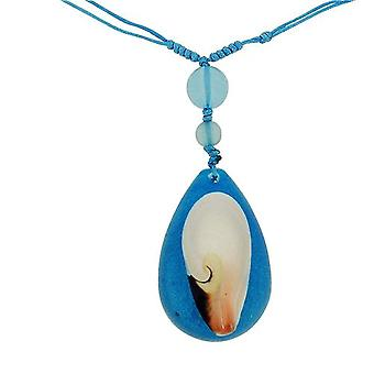 The Olivia Collection Sea Life Necklace with REAL Shell Set In Blue Resin.