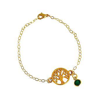 GEMSHINE YOGA Armband Lebensbaum und grünem Smaragd. 925 Silber, hochwertig vergoldet oder rose Charm an Armkette. Nachhaltiger, qualitätsvoller Schmuck Made Spain