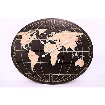 80X64Cm Globe en bois, horloge murale maison de forme ovale bureau décoration de cuisine