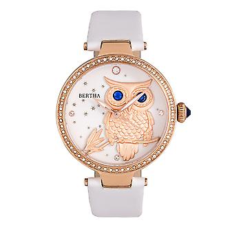 Bertha Rosie Leather-Band Watch - Rose Gold/White