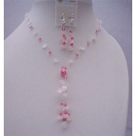 Pink Nugget Handcrafted Necklace Set And Sterling Silver Earrings w/ Tassel