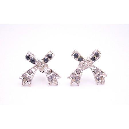 Bow Fully Embedded Cubic Zircon Jet Crystals Fashionable Earrings