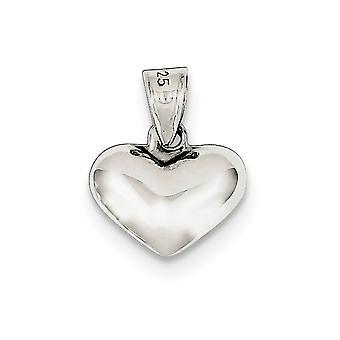 Sterling Silber hohl geschliffen gepufften Herz Charm - 1,0 Gramm