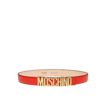 Correa de cuero rojo de Moschino