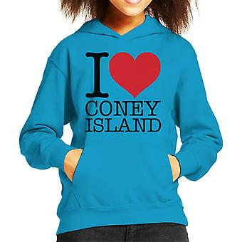 I Love Coney Island Kid's Hooded Sweatshirt