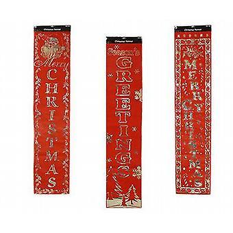 Folie bannerbericht rode Flock Design 150 cm x 32 cm leest 'Merry Christmas' 3 Pack - (XA3794)