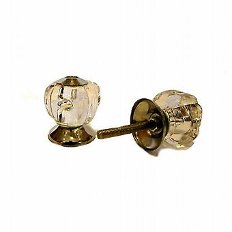 Door Drawer Knobs Handles 35mm Ribbed Clear Acrylic Pull Furniture Pack of 6 (HH4795)
