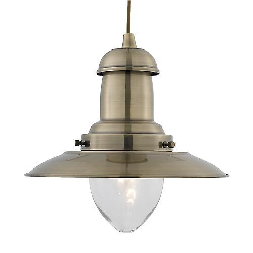 Searchlight 4301AB Fisherman Classic Style Ceiling Pendant With Clear Bell Glass -AB