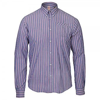 Scotch & Soda Buttoned Collar Long Sleeve Pinstripe Shirt, Dessin C