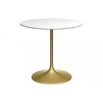 Gillmore Space Pedestal Medium Dining Table White Gloss And Brass