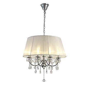 Diyas IL30056 Olivia Pendant With White Shade 8 Light Polished Chrome/Crystal