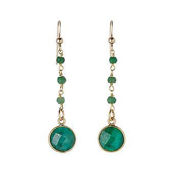 Pendientes Gemshine con gotas de esmeralda verde profundo en 925 plata u oro chapado